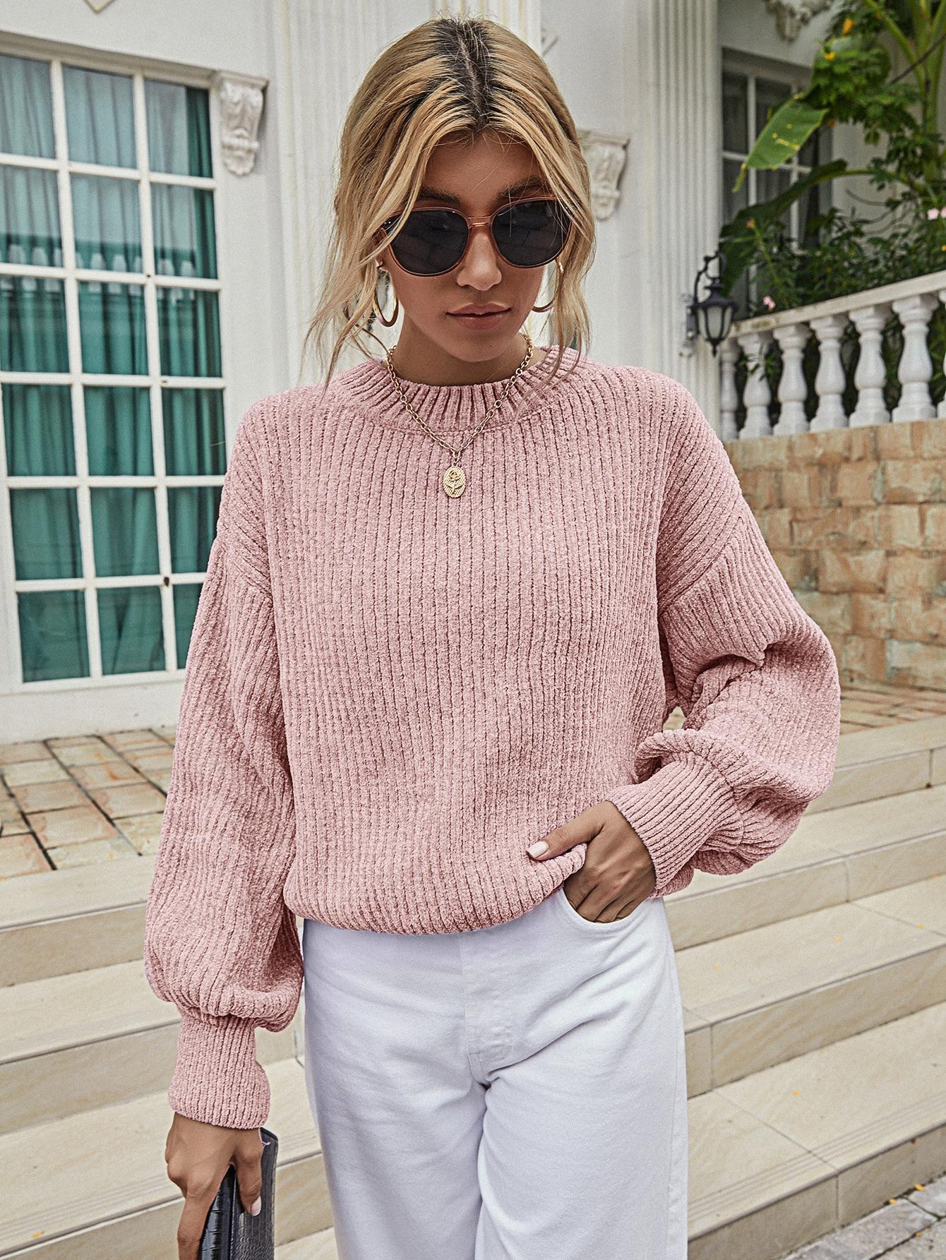 Solid Rib-Knit Drop Shoulder Sweater thumbnail
