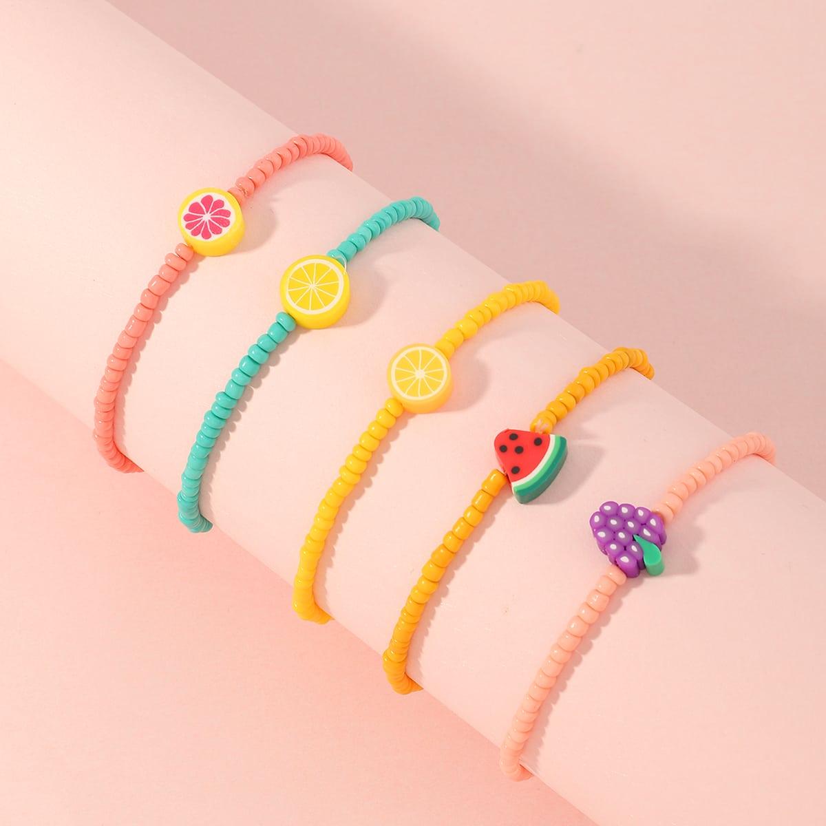 5 pezzi braccialetto con perline frutta da bambina
