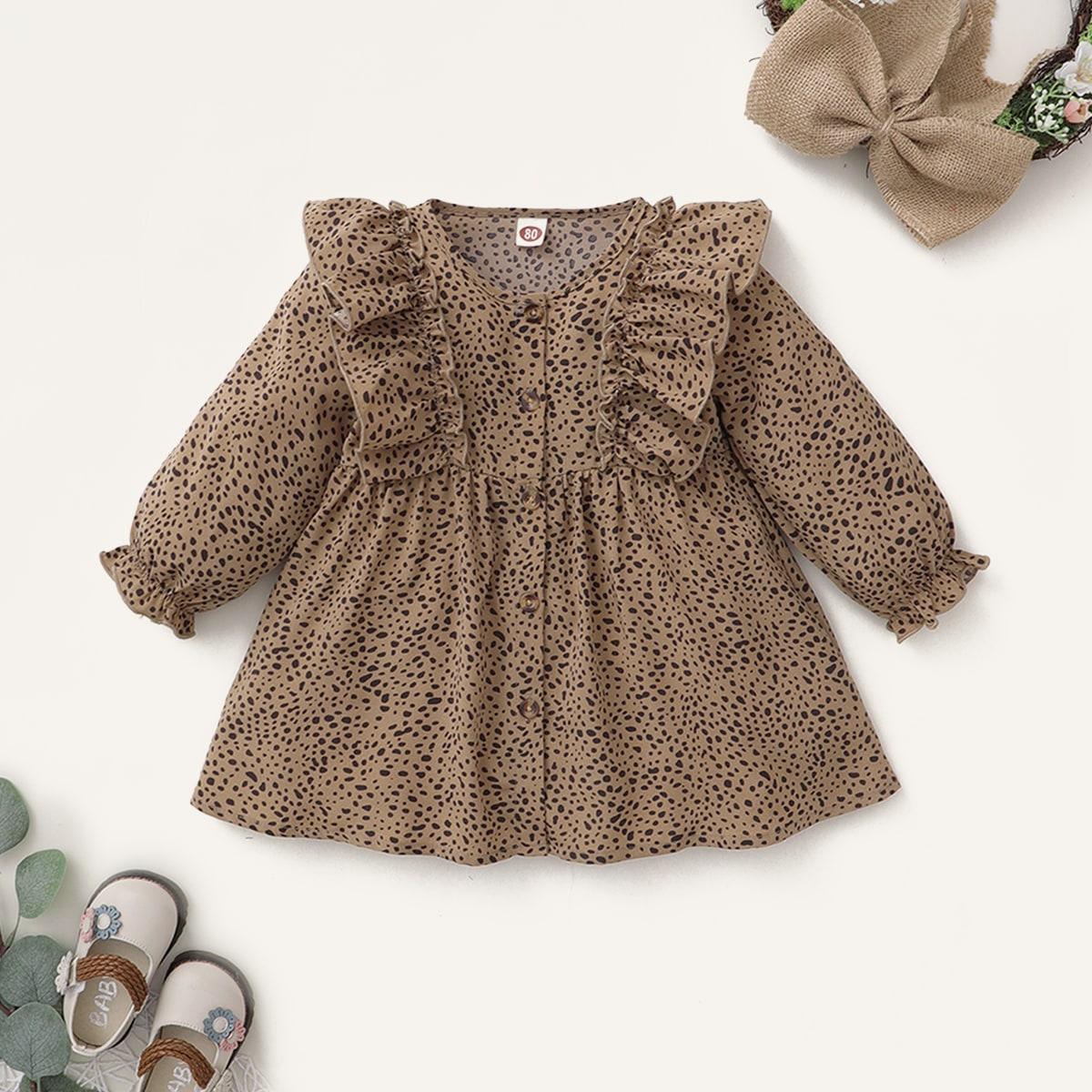 Платье с далматинским принтом и оборкой для девочек от SHEIN