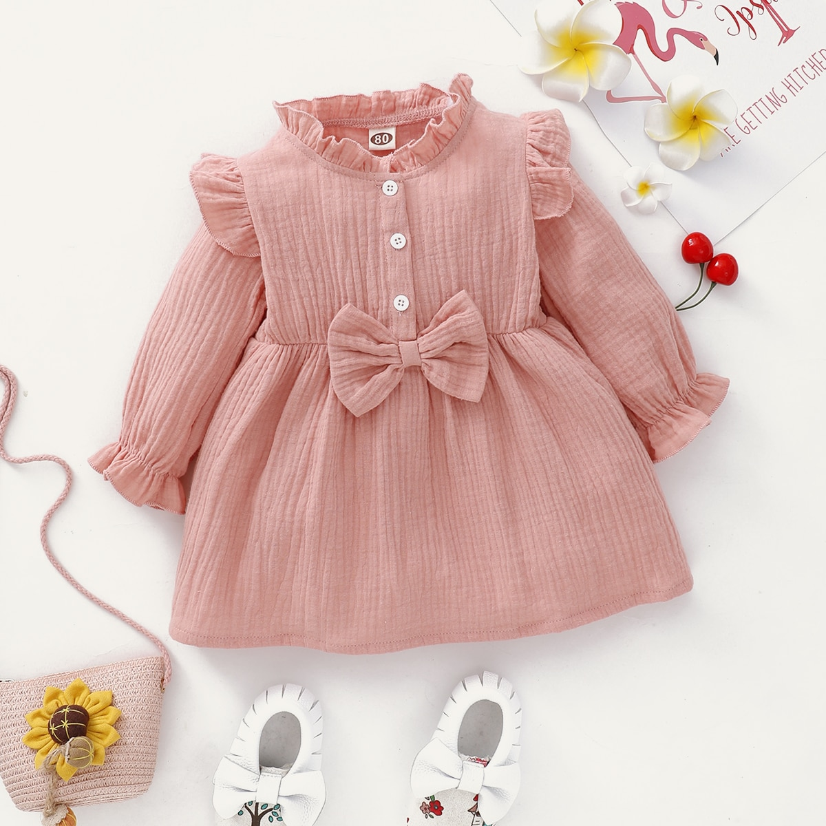 Платье с бантом для девочек от SHEIN