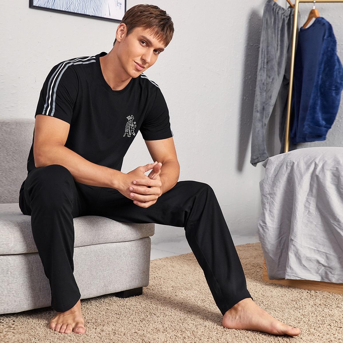 Боковая полоса полосатый повседневный мужская домашняя одежда