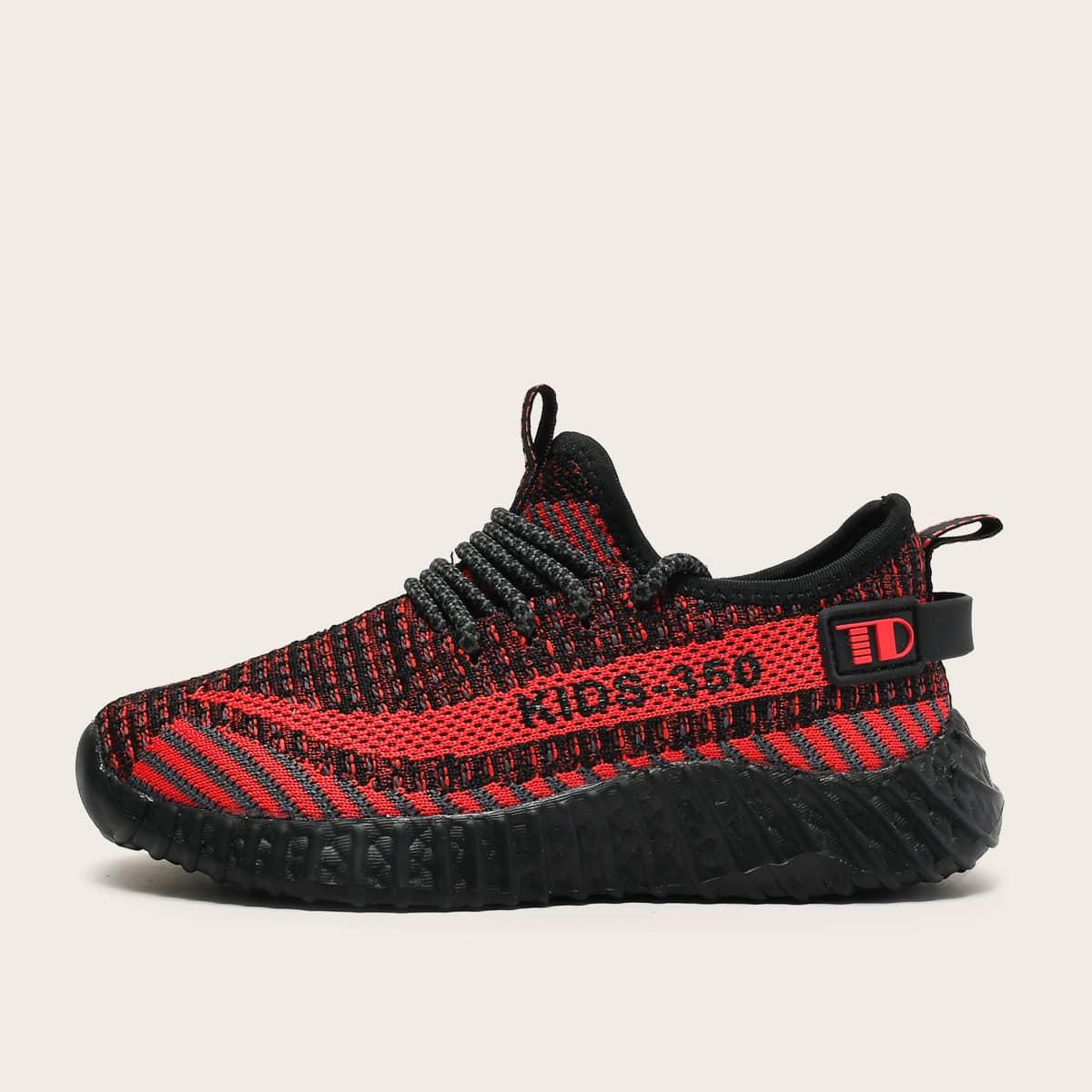 Кроссовки на шнурках с текстовым принтом для мальчиков