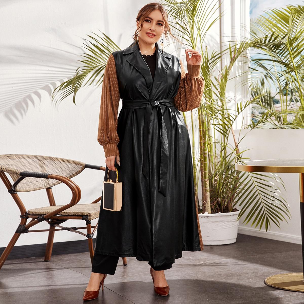 С поясом контрастный цвет элегантный плюс размеры пальто