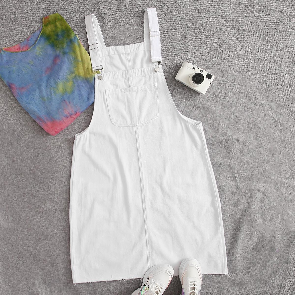 С карманами одноцветный институтский джинсовые платья размер плюс