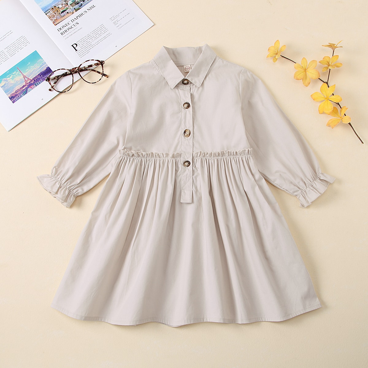 Оборка одноцветный повседневный платья для девочек