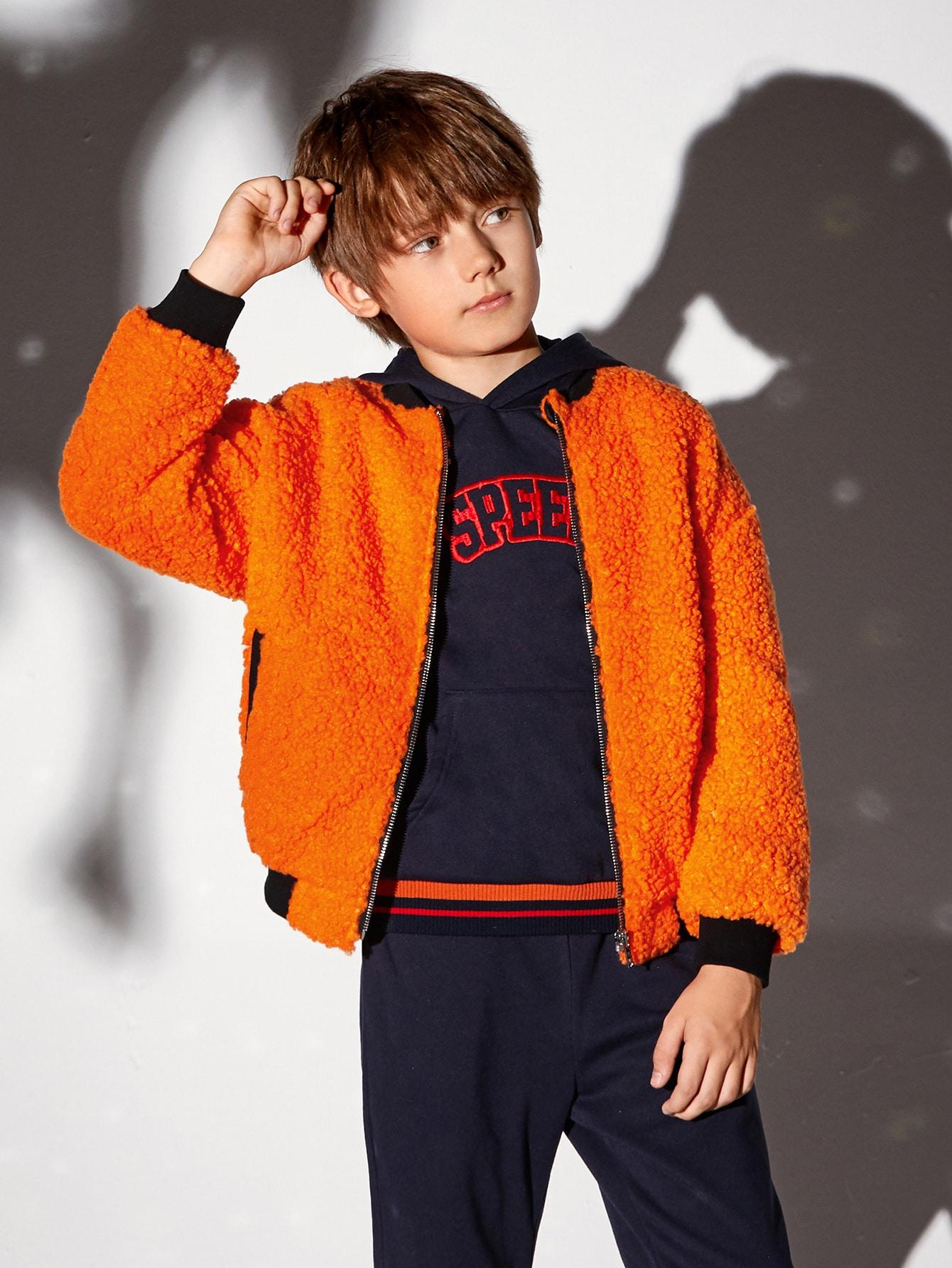 Boys Neon Orange Contrast Trim Drop Shoulder Teddy Bomber Jacket
