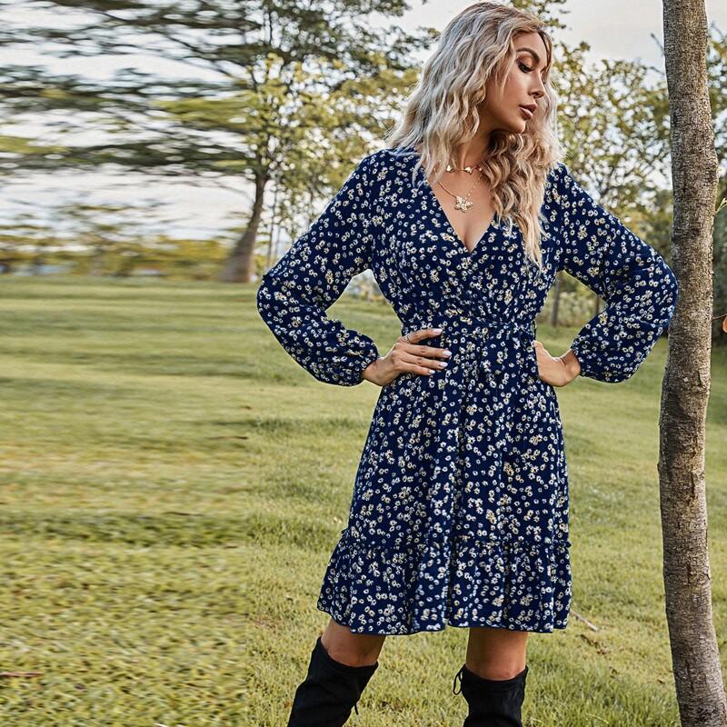 Ditsy Floral Print Ruffle Hem Belted Dress, Navy blue