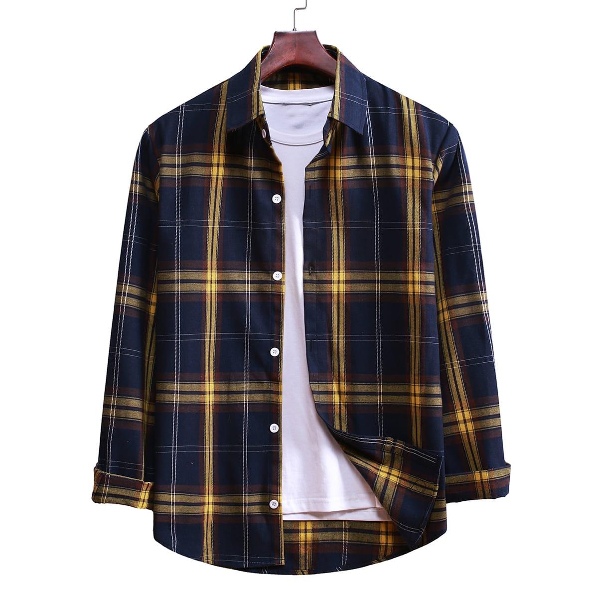 Однобортный Клетчатый Институтский Мужские рубашки SheIn smshirt03200901243