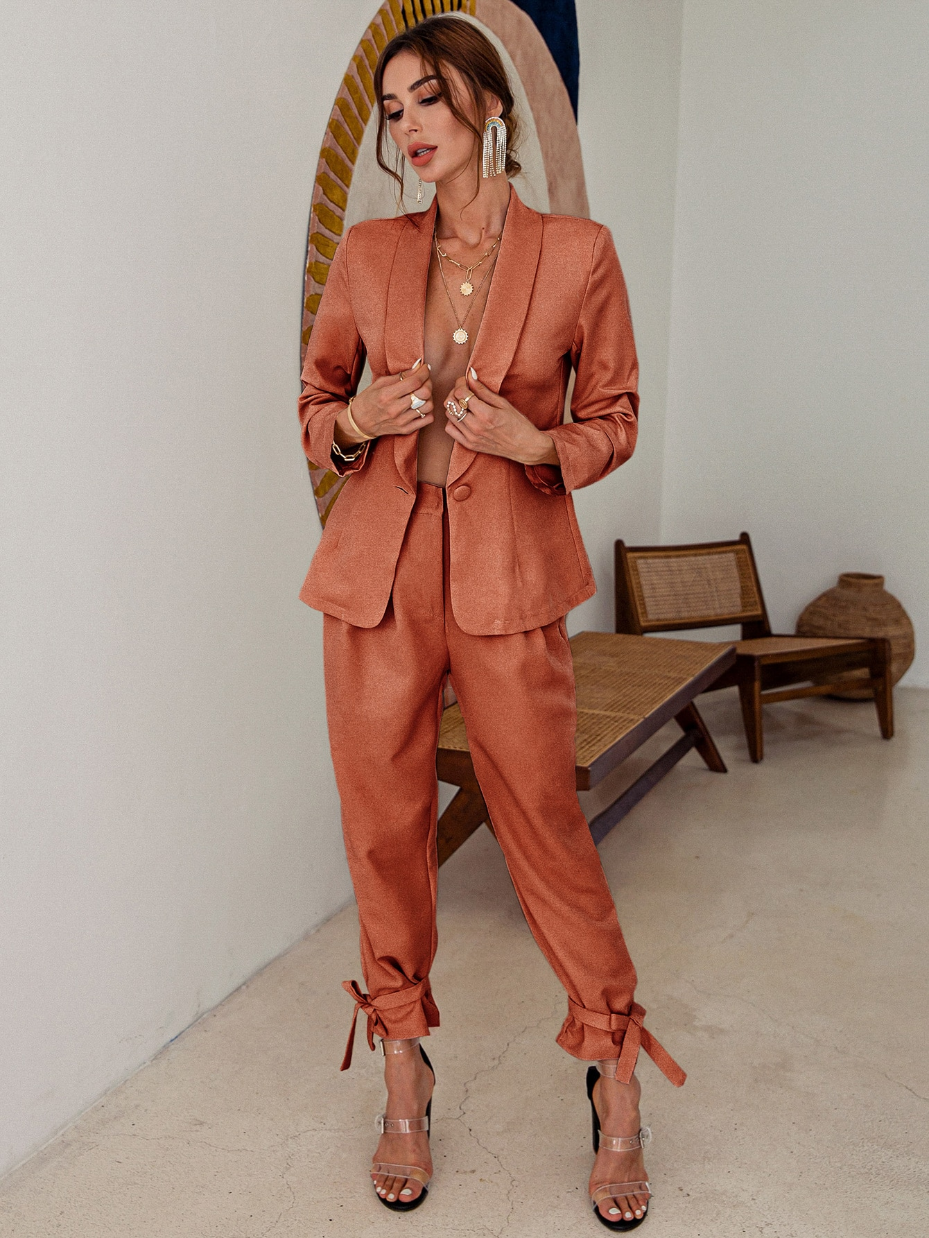 Shawl Collar Single Button Blazer & Knot Hem Pants Set thumbnail