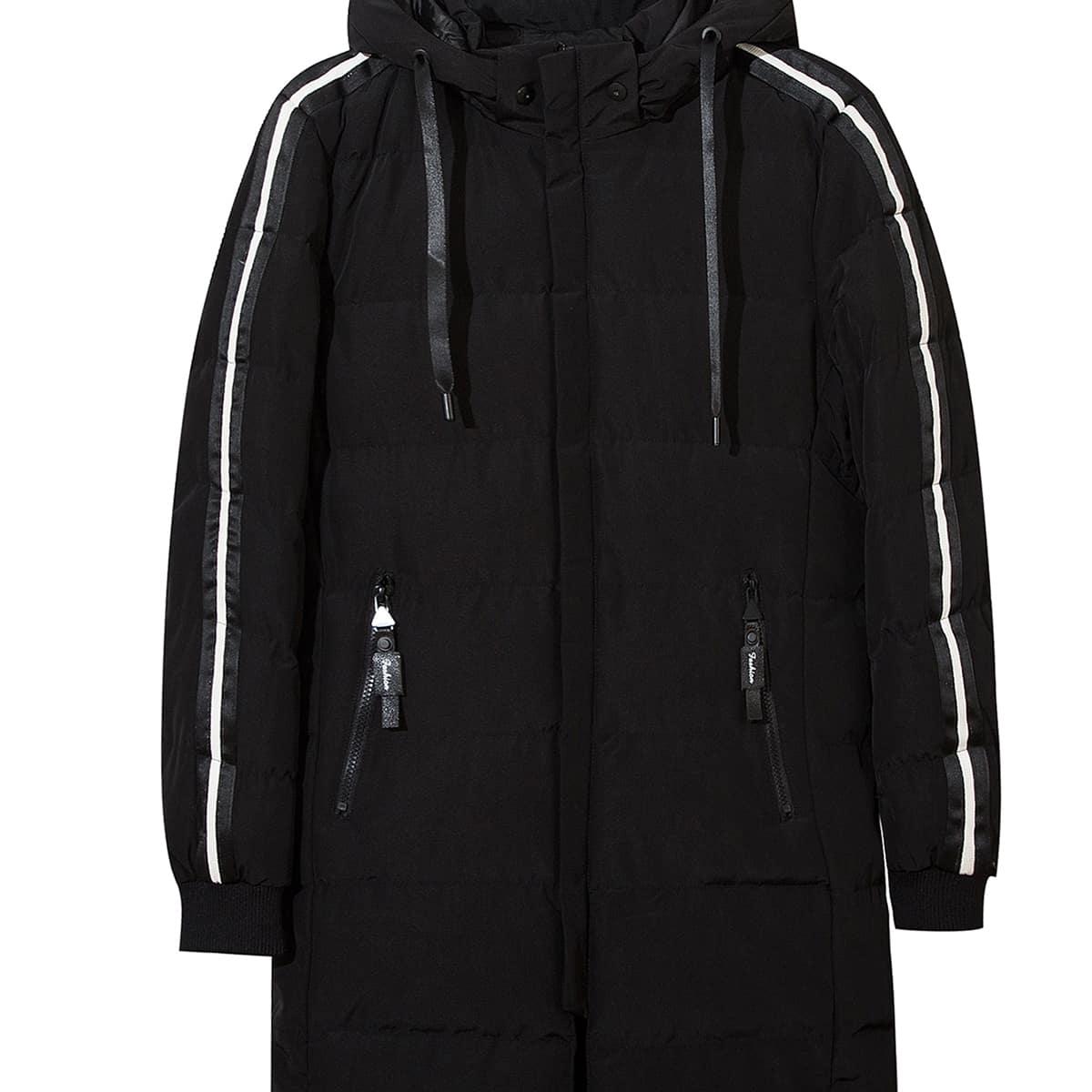 Мужская хлопковая куртка с капюшоном в полоску по бокам и кулиской