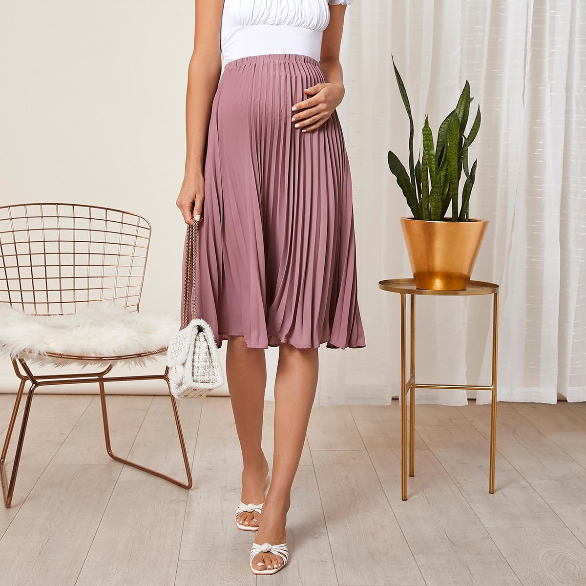Плиссированное одноцветный элегантный юбки для беременных