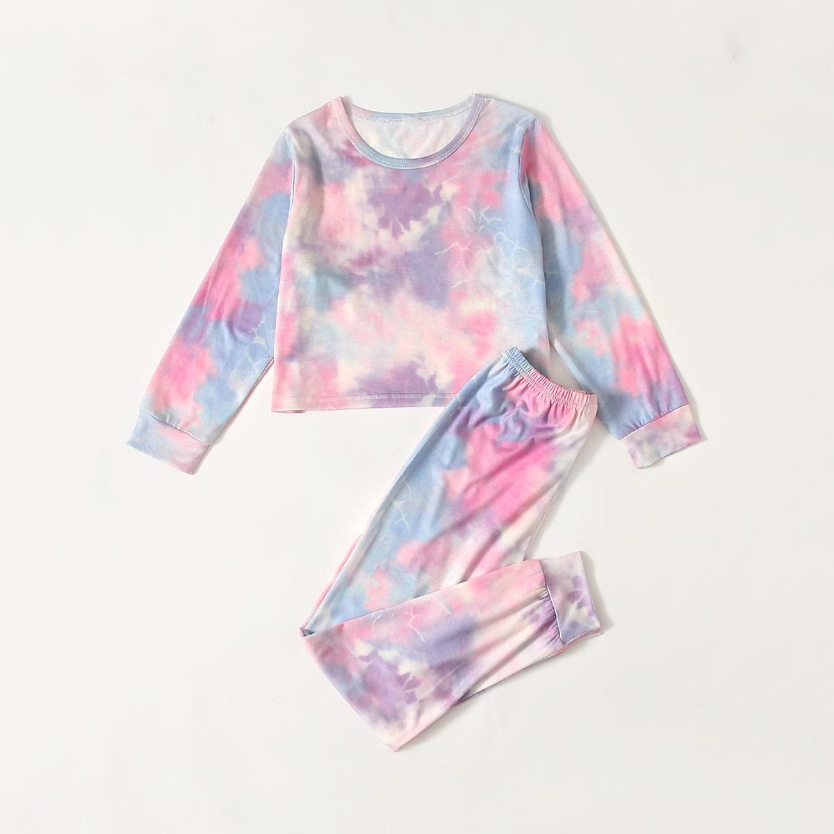 Пижама с принтом тай дай для девочек