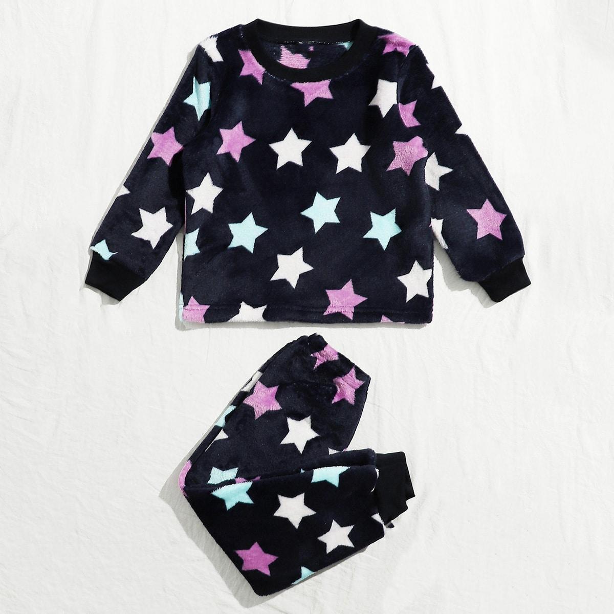 Фланелевая пижама с рисунком звезды для мальчиков