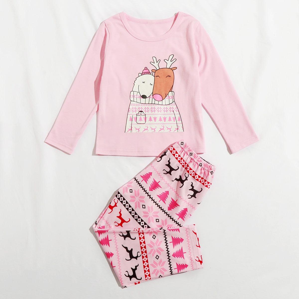 Пижама с мультипликационным рисунком для девочек