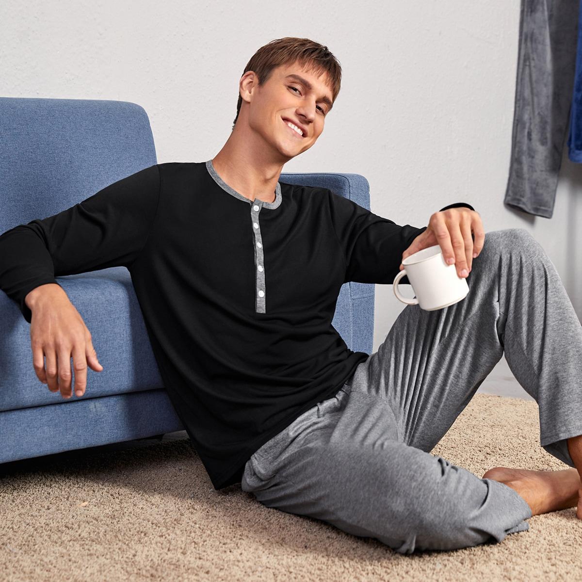 Контрастная отделка контрастный цвет повседневный мужская домашняя одежда