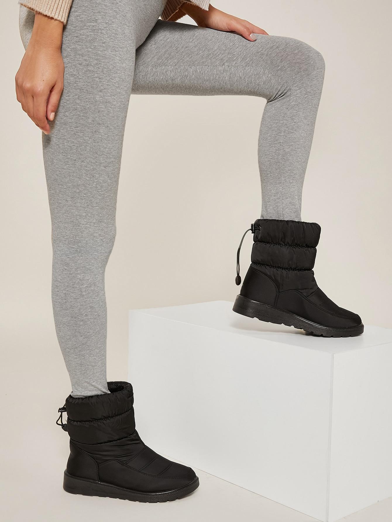Padded Faux Leather Lug Sole Rain Boots
