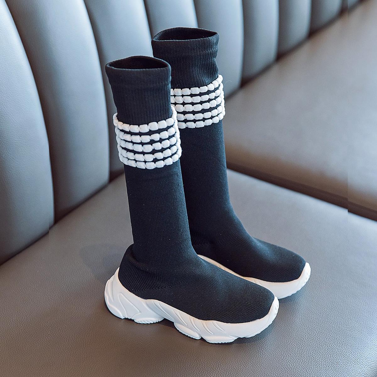 Сапоги-носки с полосками для девочек
