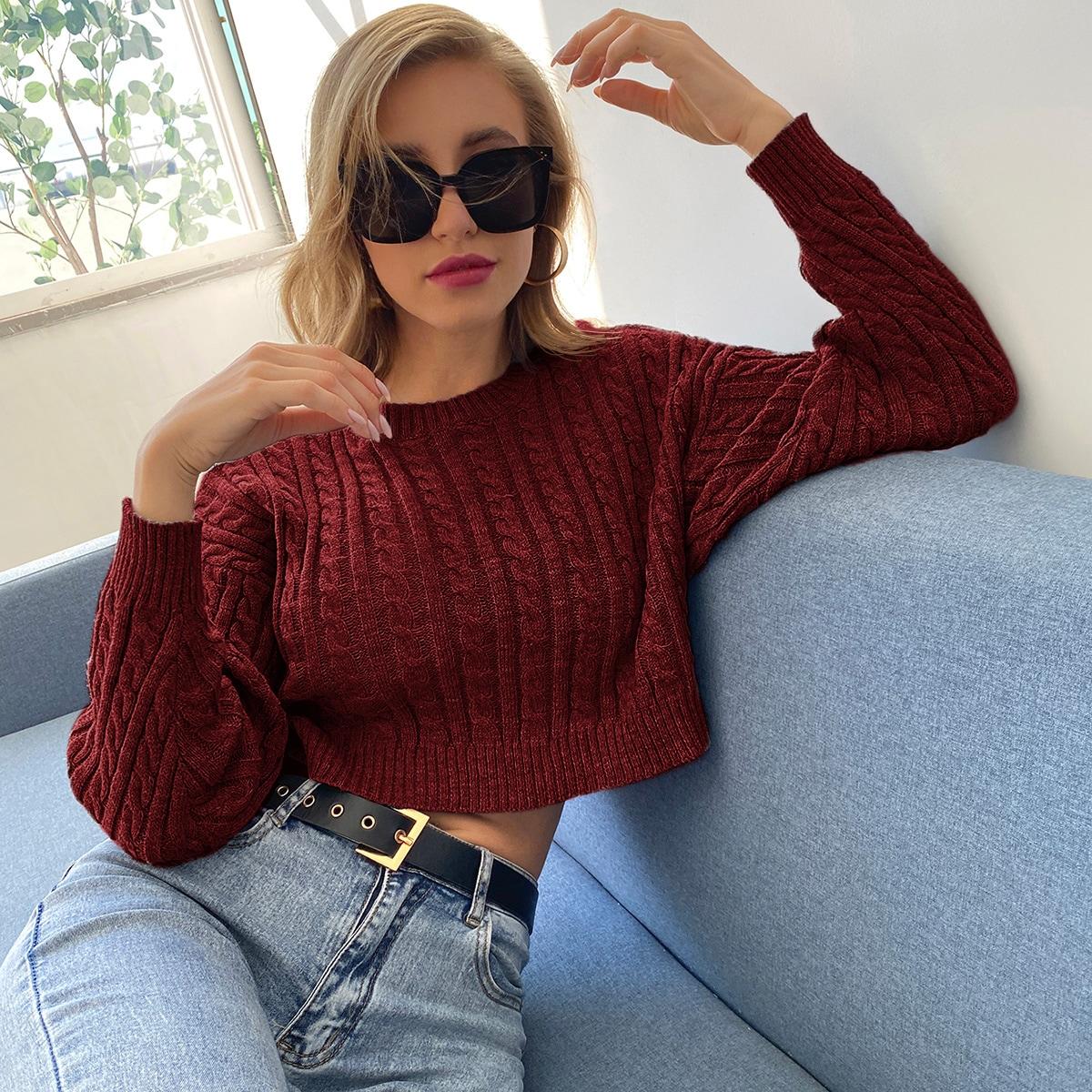 Cable Knit Drop Shoulder Crop Sweater