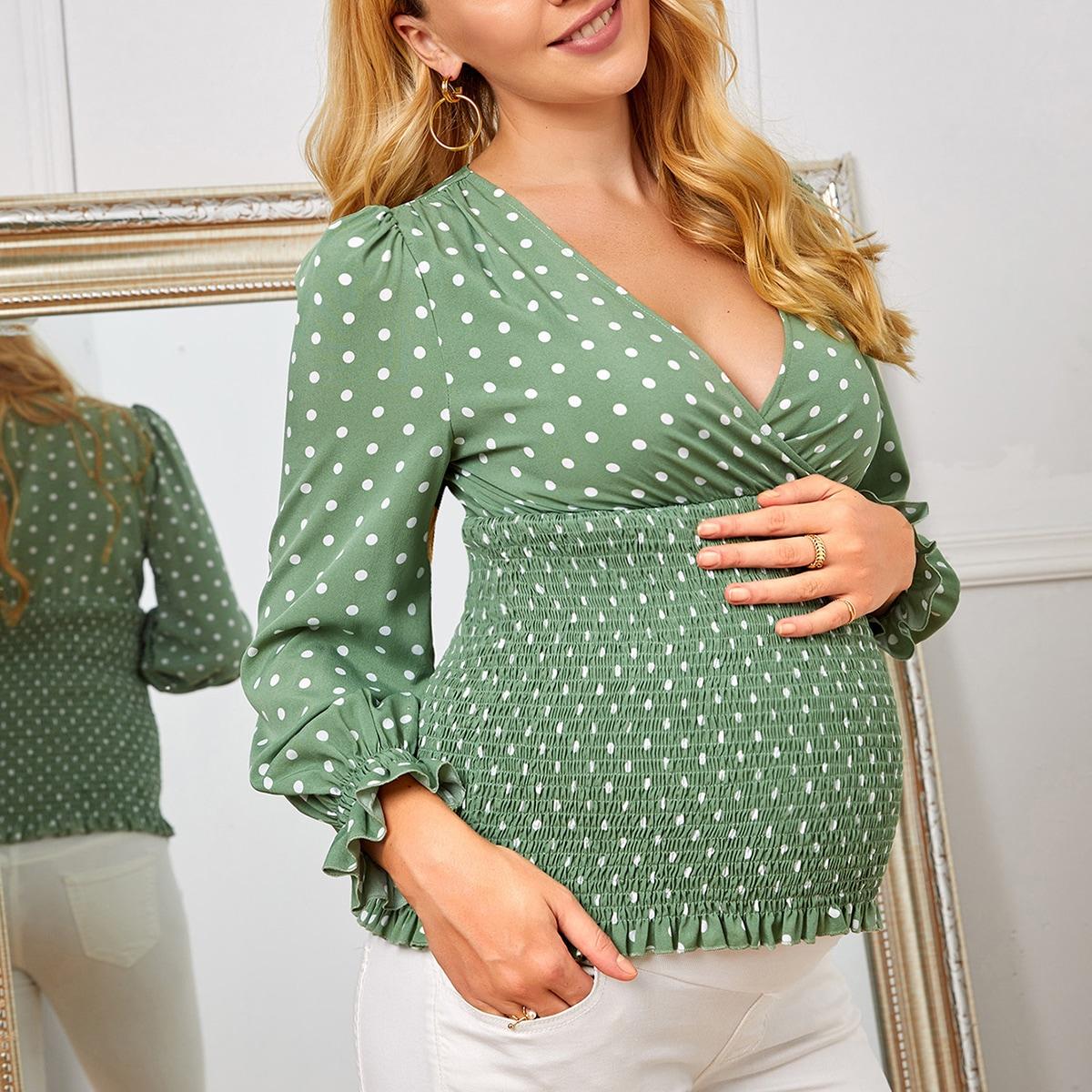 Кайма в горошёк бохо блузы для беременных