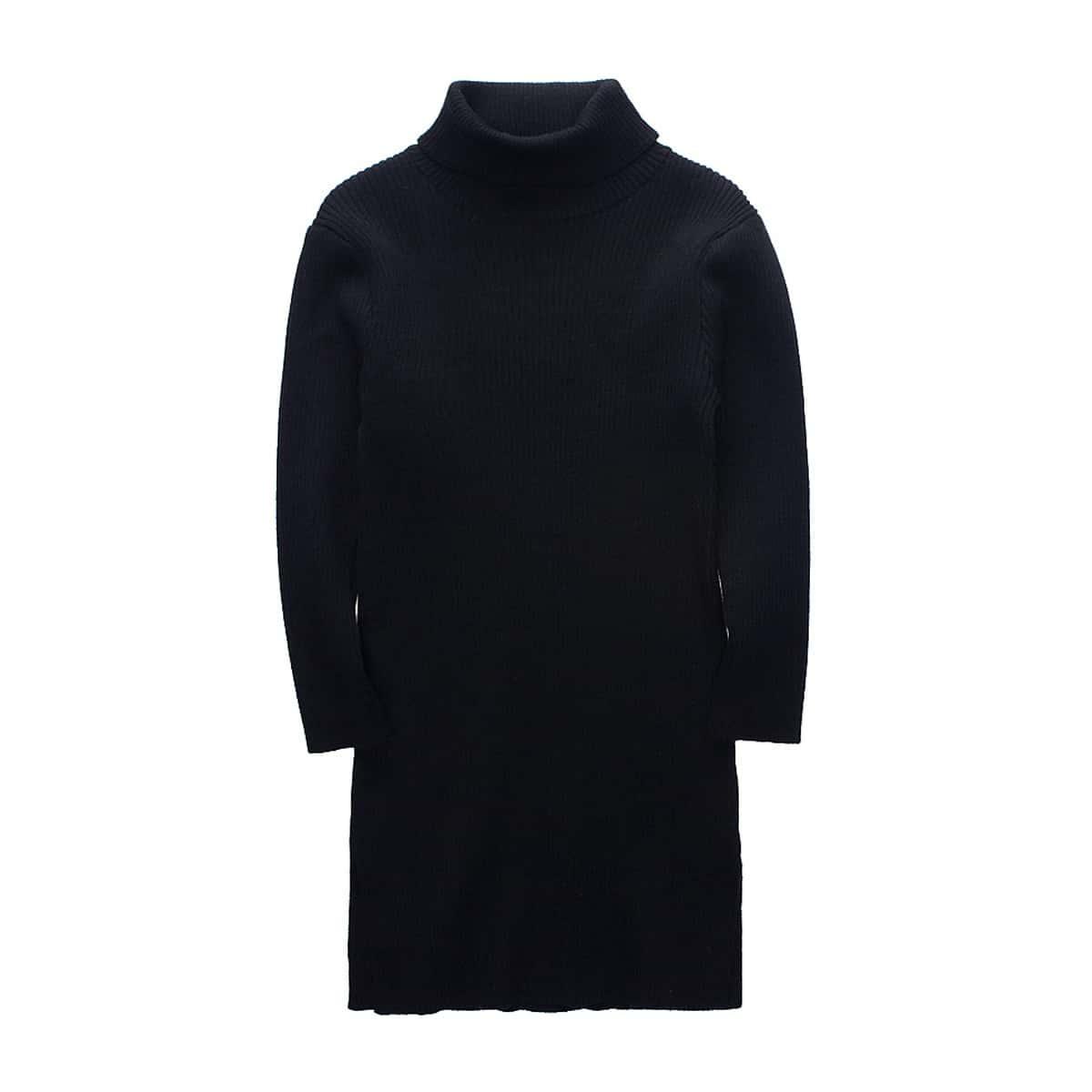 Вязаное платье-свитер в рубчик для девочек
