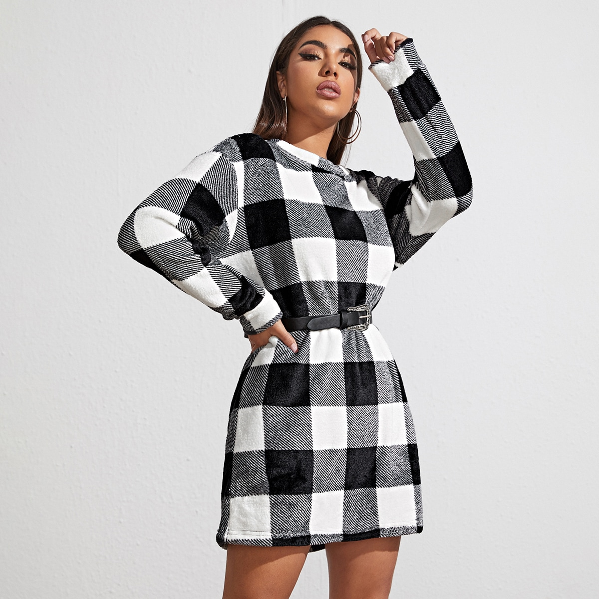 Drop Shoulder Buffalo Plaid Teddy Sweatshirt Dress Without Belt