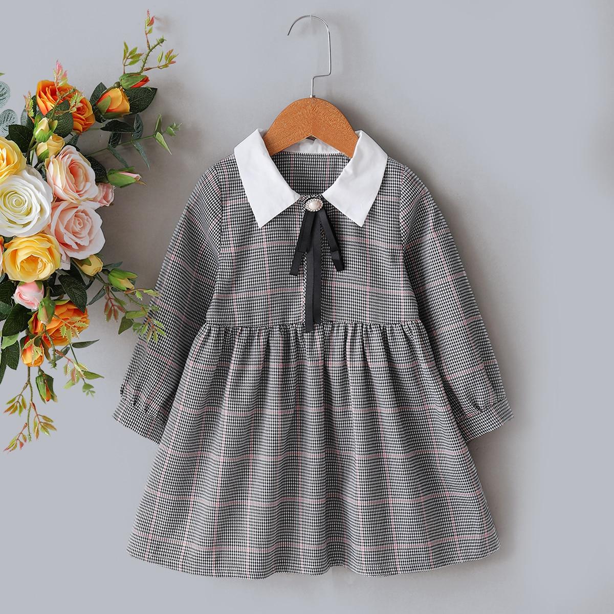 С бантом ломаная клетка институтский платья для девочек