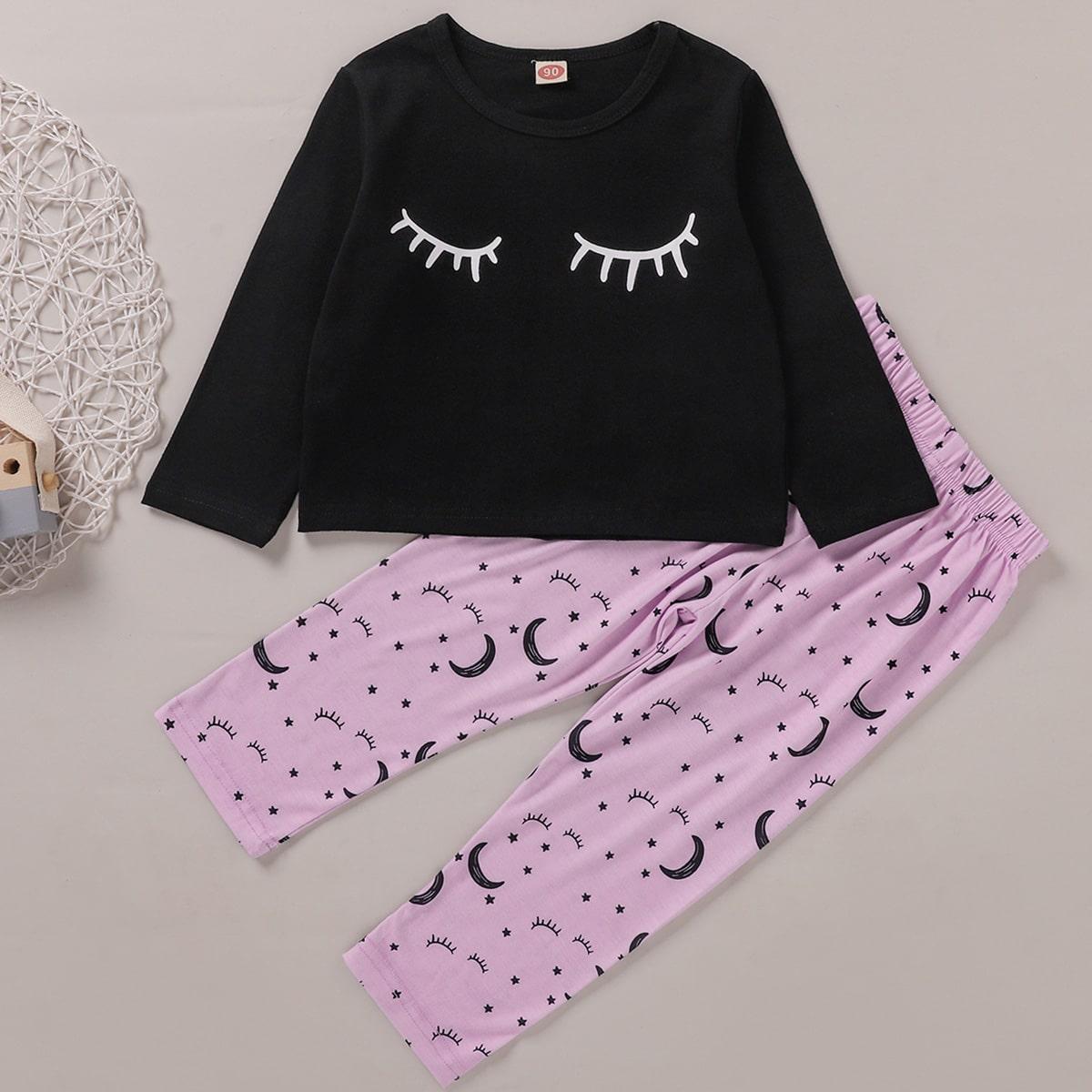 Пижама с оригинальным принтом для девочек