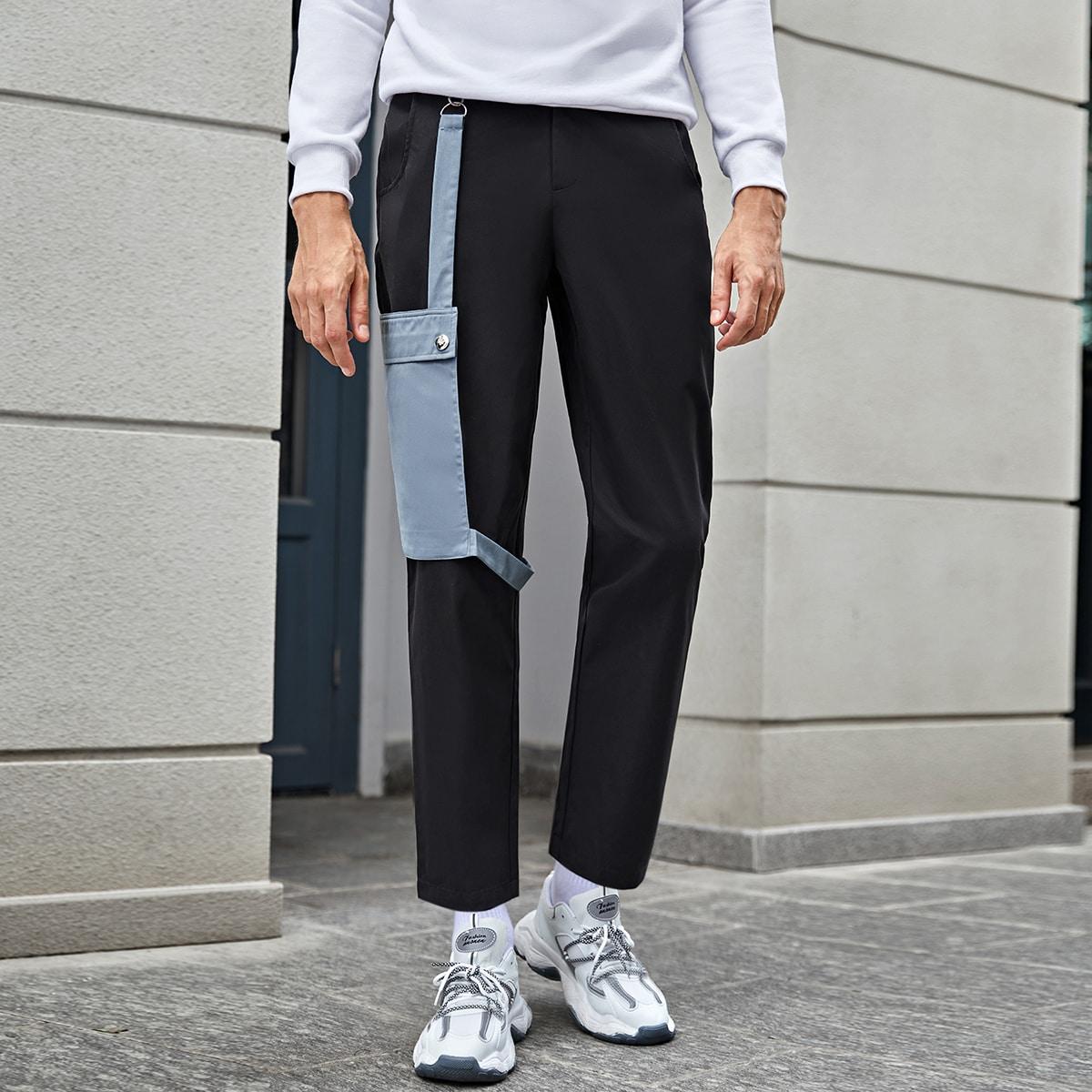 Пугавица контрастный повседневный мужские брюки