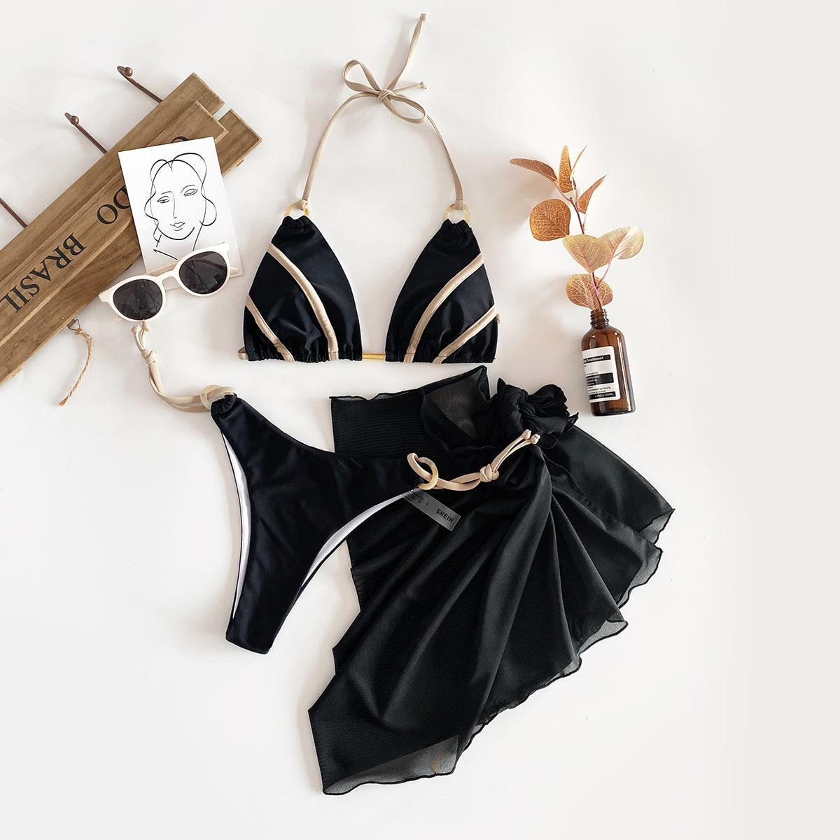 Бикини и сетчатая пляжная юбка 3шт