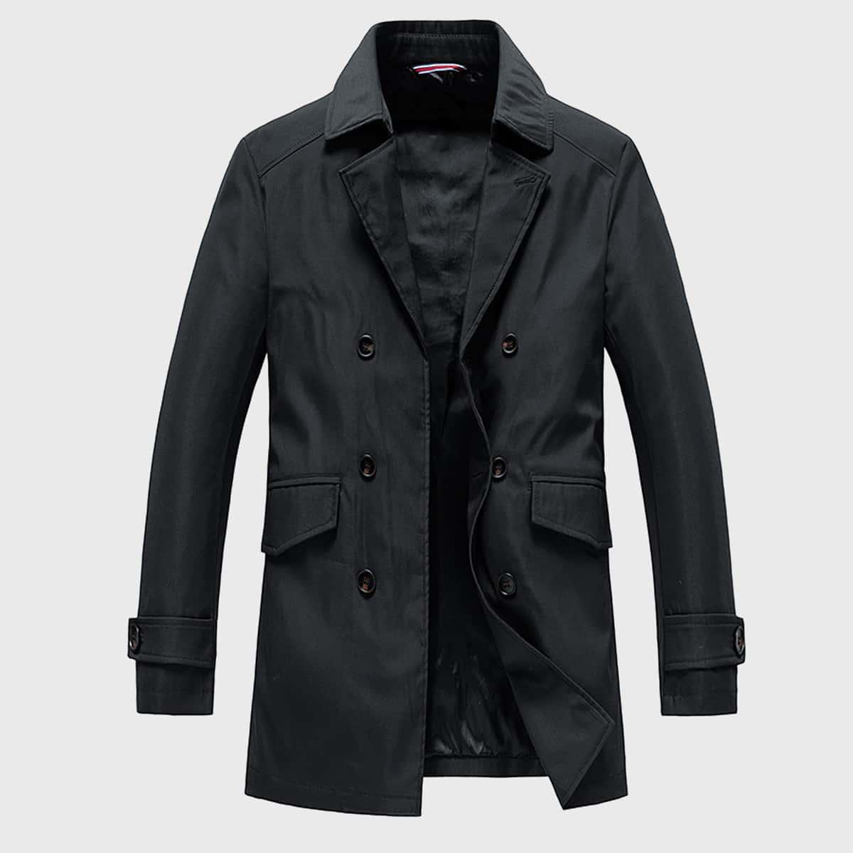 Мужское двубортное пальто тренч с лацканами