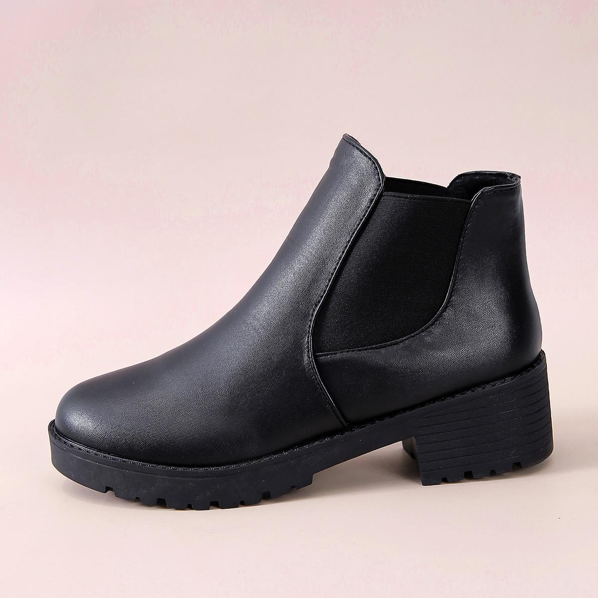 Чёрный Удобный Осенняя/зимняя обувь