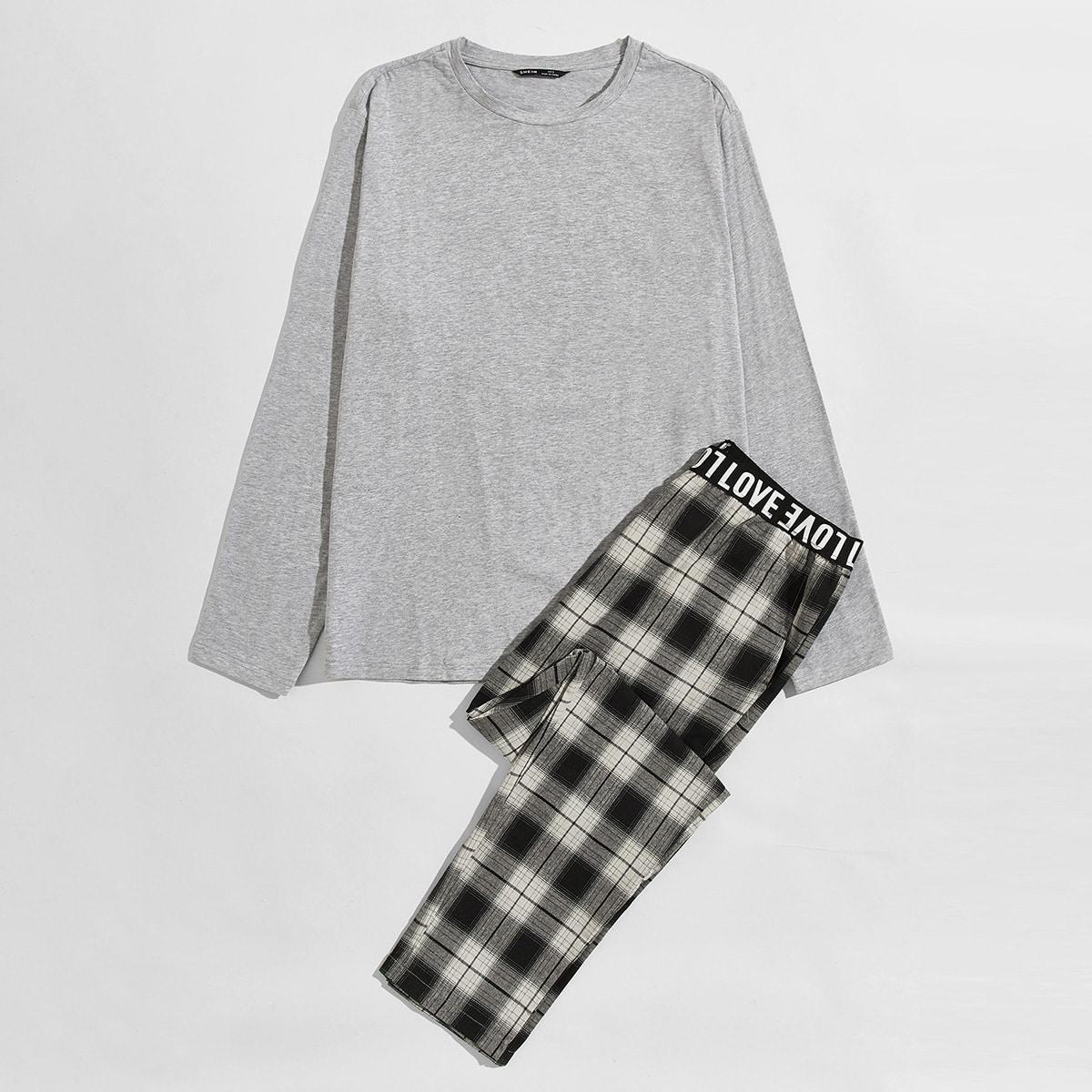 С карманами клетка повседневный мужская домашняя одежда