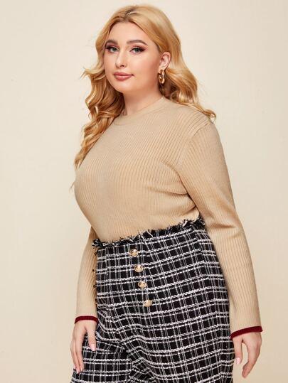 Plus Split Sleeve Rib-knit Sweater