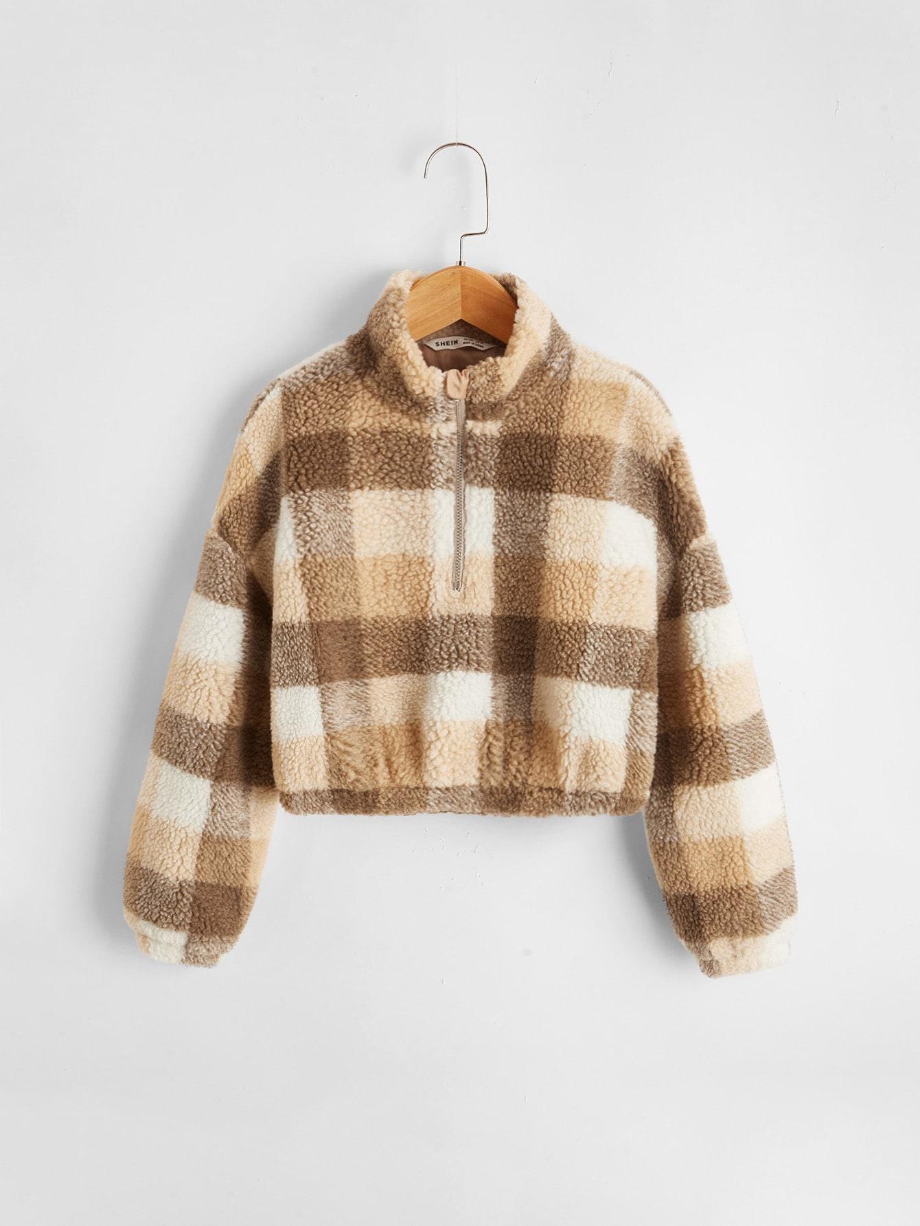girls plaid drop shoulder zip half placket sweatshirt