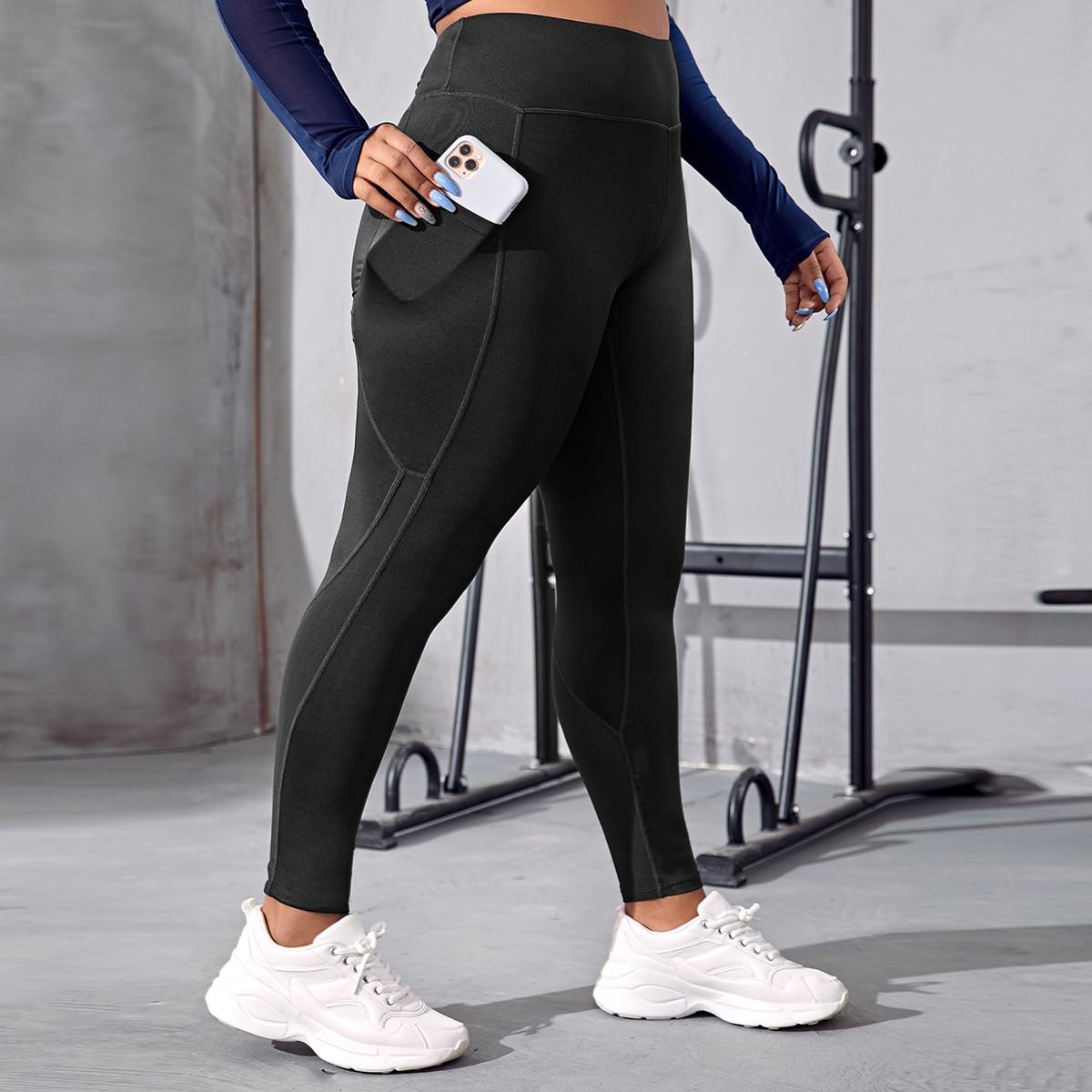 с карманами Одноцветный Спортивные леггинсы & брюки размера плюс