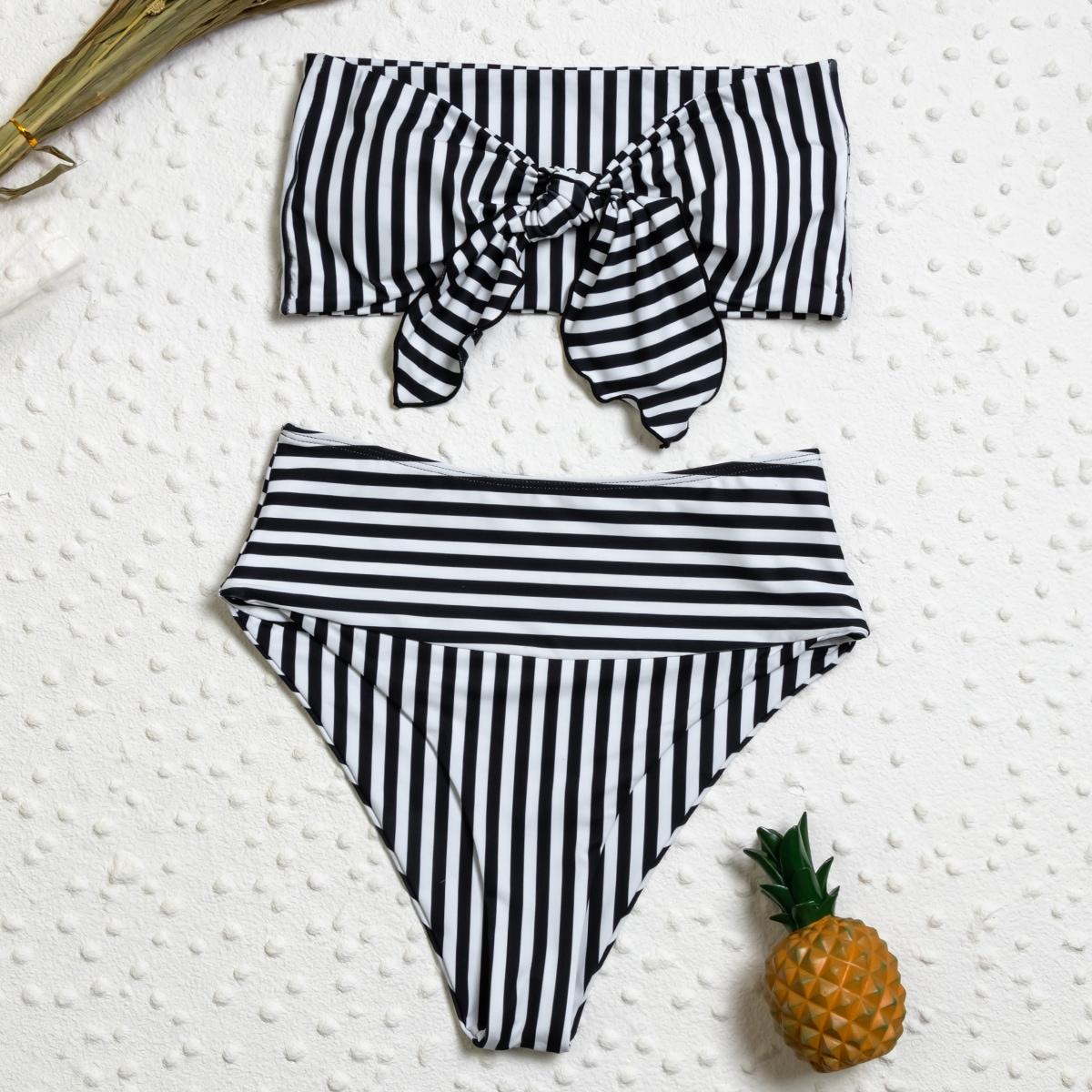 Striped Knot Front Bandeau Bikini Swimsuit