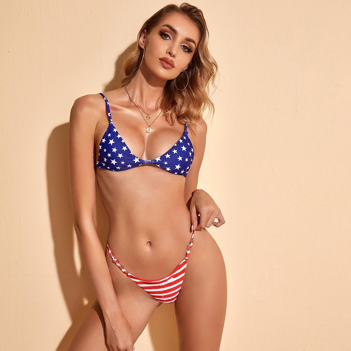"Бикини с принтом ""американский флаг"
