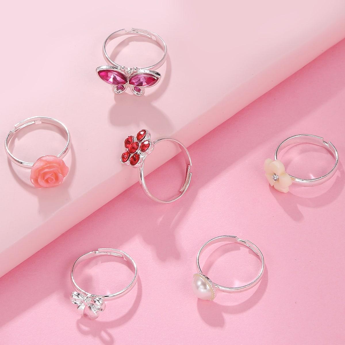 Girls Rhinestone Detail Ring, SHEIN  - buy with discount
