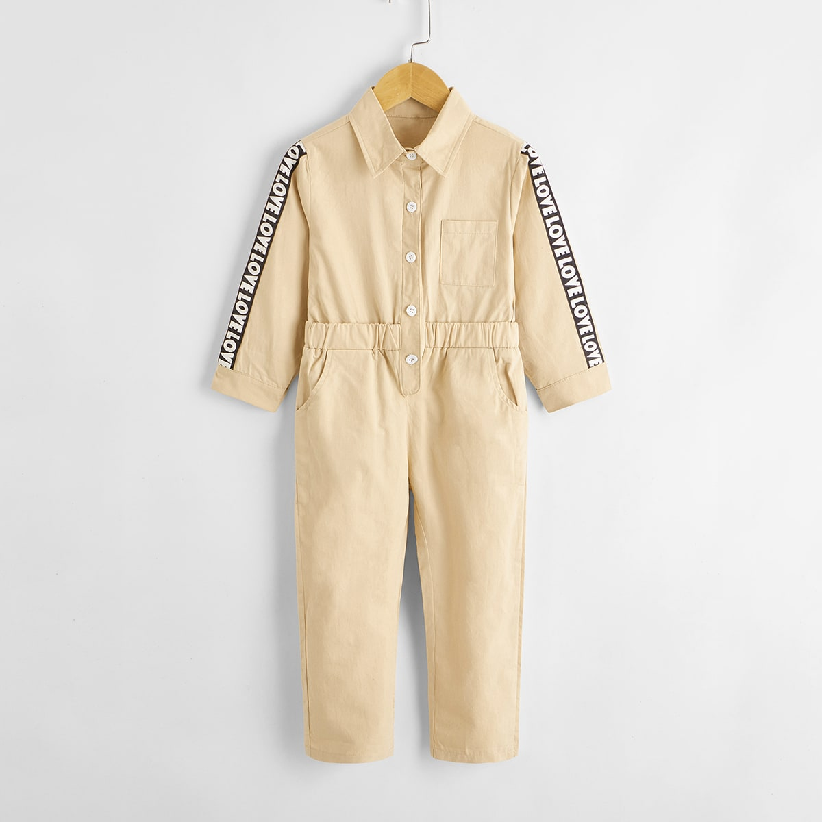 Комбинезон-рубашка с текстовой лентой для мальчиков