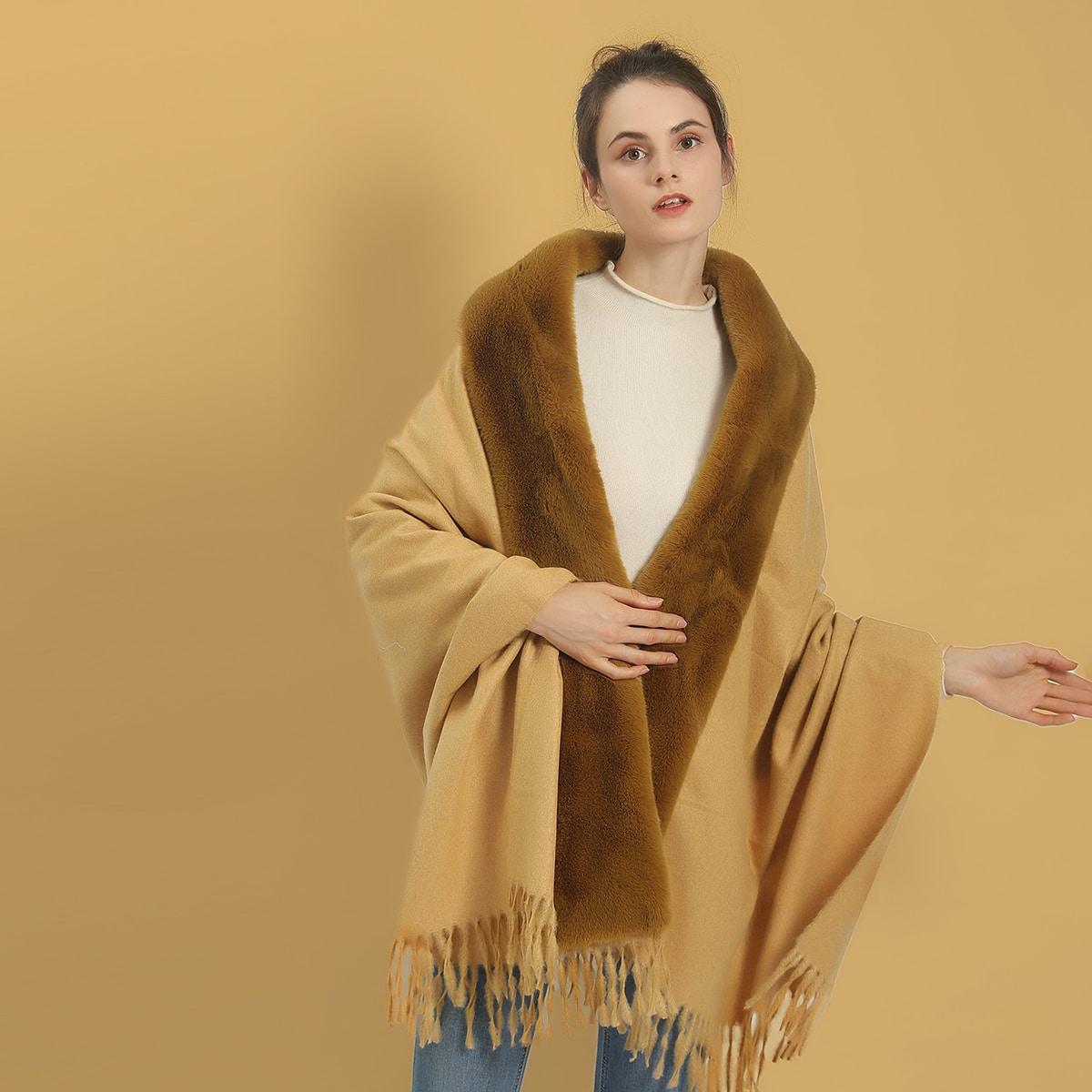Шарф-шаль с бахромой