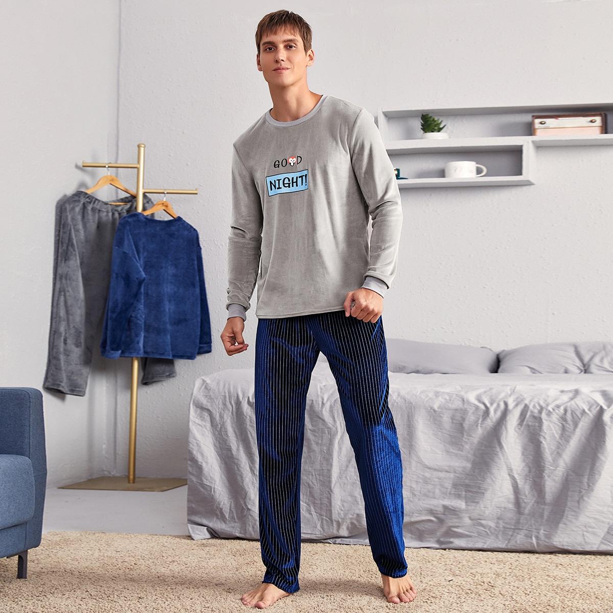 Мужская бархатная пижама с текстовым и мультипликационным принтом