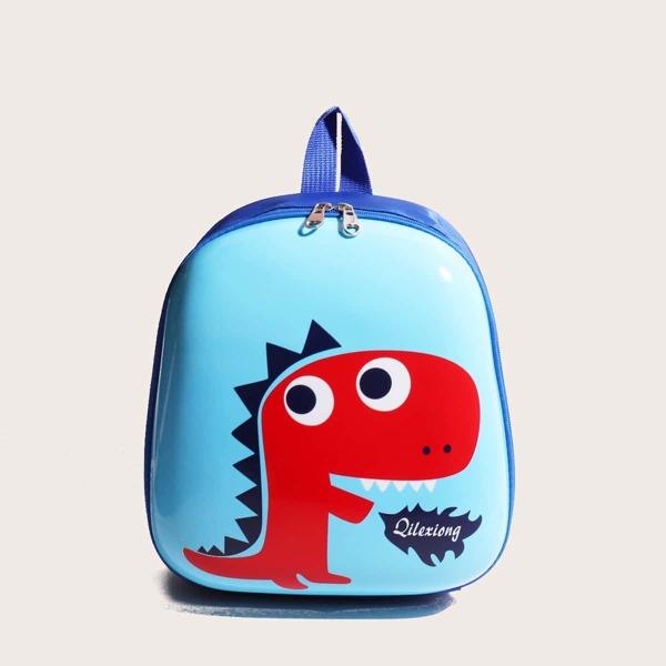 Boys Cartoon Dinosaur Print Backpack, Blue