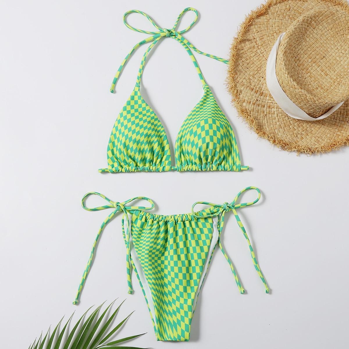 Argyle Triangle Halter Tie Side Bikini Swimsuit
