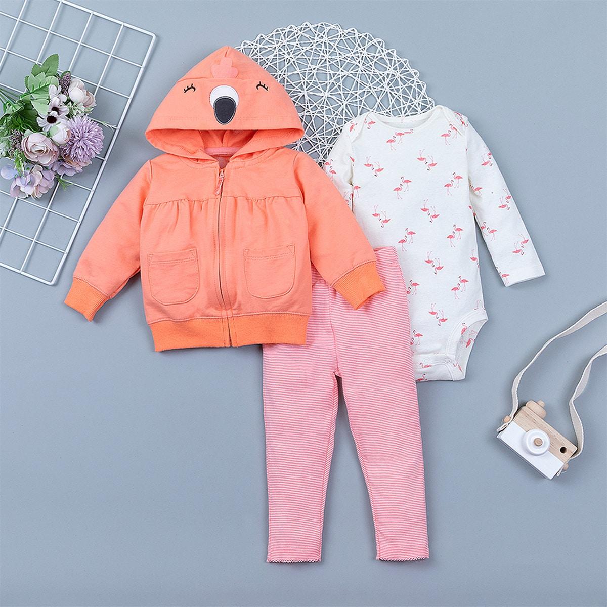 Куртка на молнии, брюки в полоску и боди с принтом фламинго для девочек