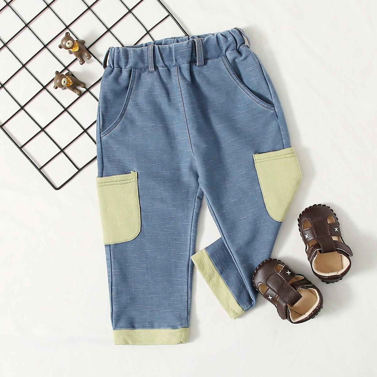 Карман контрастный повседневный джинсы для девочек