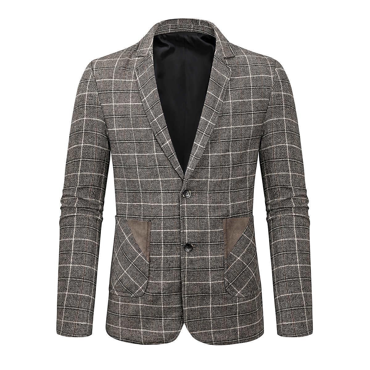 Мужской однобортный пиджак в клетку с карманами