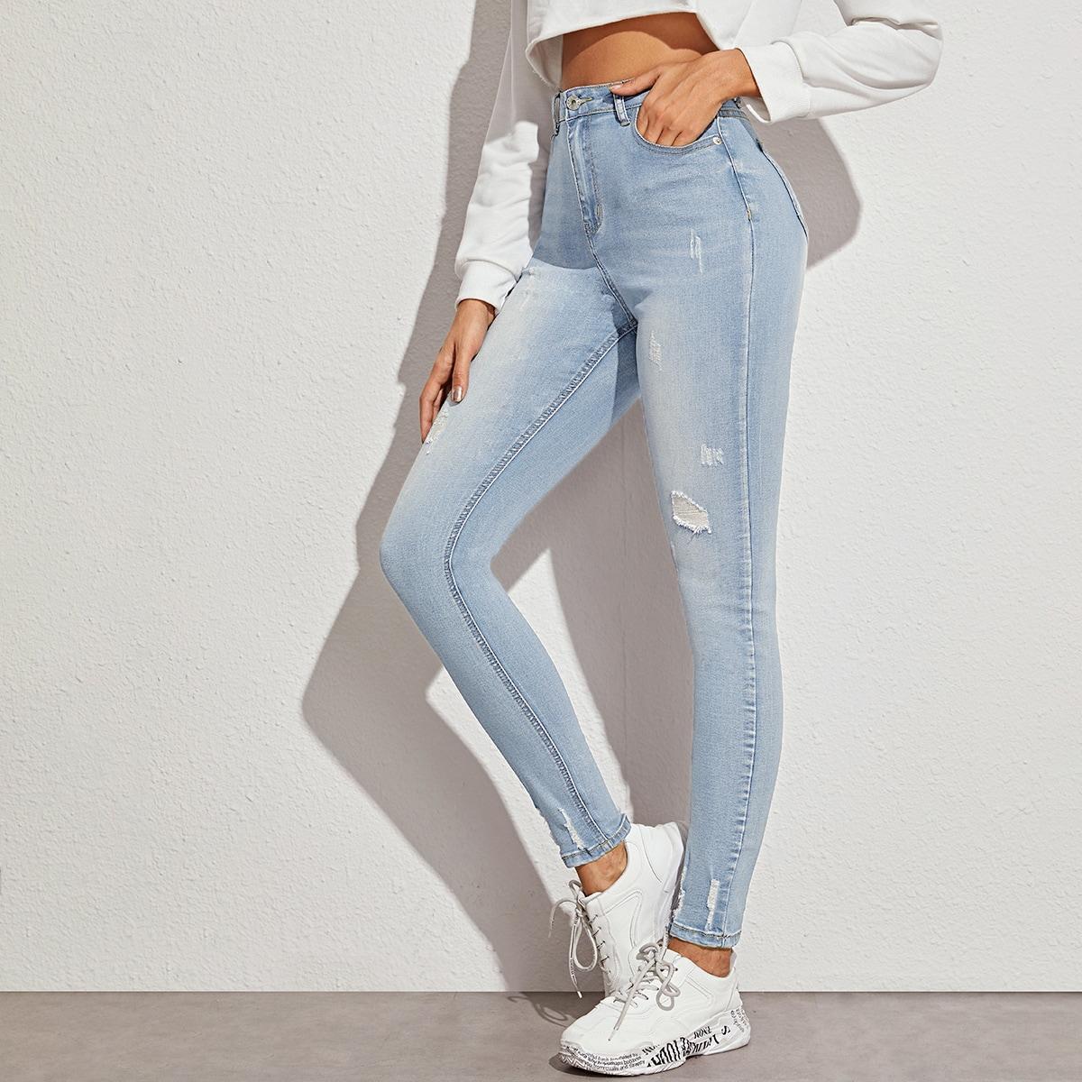 Light Wash High-Waisted High Stretch Slant Pocket Jeans