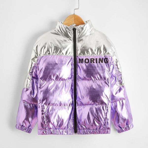 Girls Zip Up Two Tone Letter Graphic Metallic Puffer Jacket, Multicolor