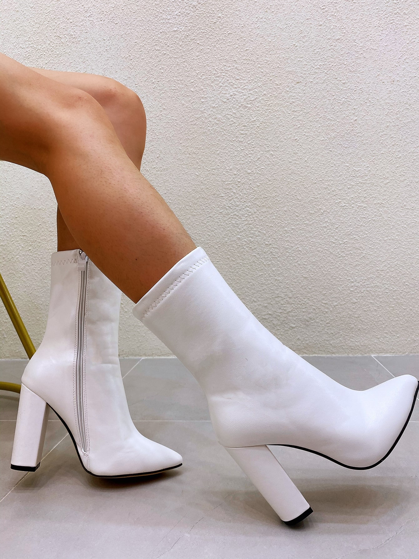 Point Toe Side Zip Chunky Heeled Boots