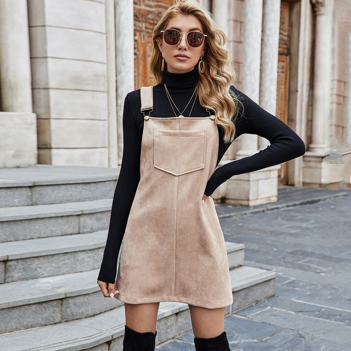 Suede Pocket Front Overall Dress